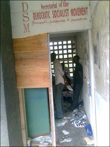 Broken door of DSM branch secretariat. - photo Socialist Nigeria