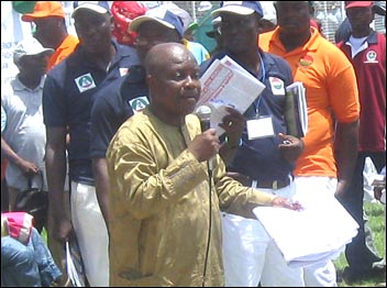 Segun Sango addressing the Lagos May Day, photo Socialist Democracy