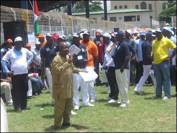 Segun Sango addressing the Lagos May Day - photo Socialist Democracy