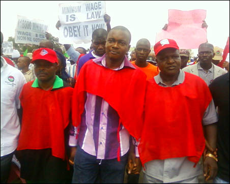 NLC and TUC leaders at the protest - photo DSM