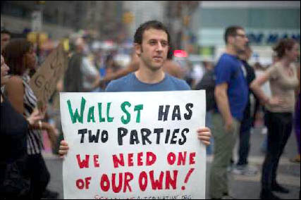 USA Placard - Wall Street has two parties - we need our own