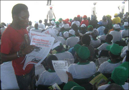 May Day 2012: selling Socialist Democracy and circulating SPN leaflet at Abuja rally - photo DSM