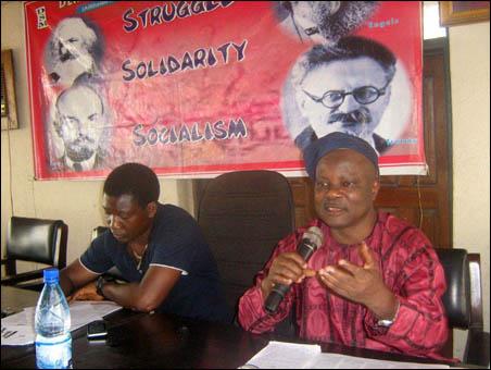Segun Sango (DSM General Secretary) speaking to the NC, photo DSM