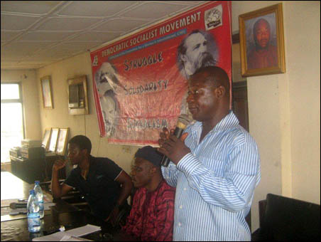 Abiodun Aremu, JAF secretary, giving solidarity message to the NC - photo DSM