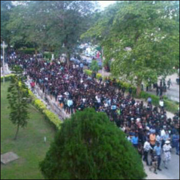 Unilag students protesting the renaming of their school Moshood Abiola University