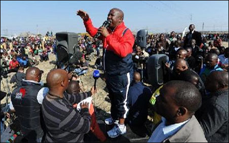 Expelled South African ANC Youth League leader Julius Malema addresses
