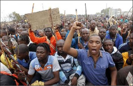 Striking Lonmin miners in Marikana, South Africa