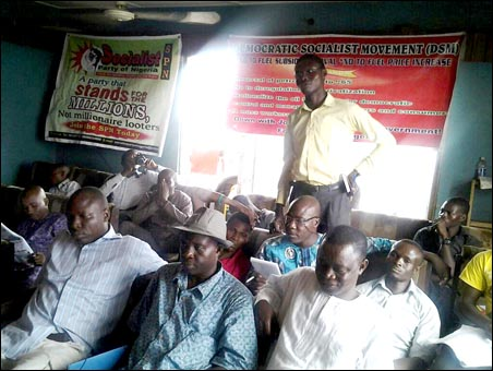 Comrades at the Lagos DSM discussion marking the 95th anniversary of the 1917 socialist revolution in Russia - photo DSM