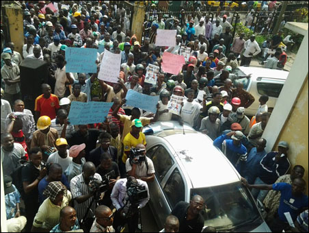 OKADA RIDERS PROTEST BAN AND VICTIMISATION - before take-off at NLC - photo DSM