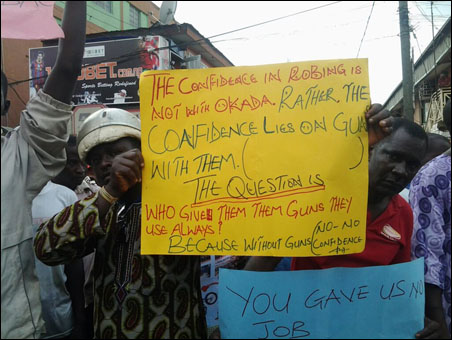OKADA RIDERS PROTEST BAN AND VICTIMISATION - dont mind the english get the message - photo DSM
