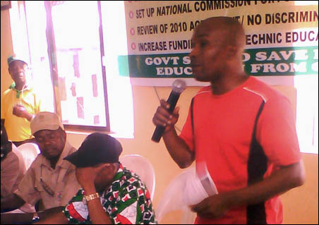 Chinedu Bosah giving DSM and ERC Solidarity Message - photo DSM