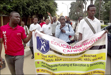 ERC Protest March at University of Lagos - photo DSM