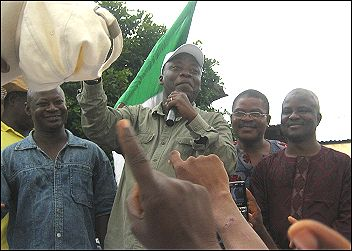 Alogba, NUT chair, flanked by Segun Sango, DSM General Secretary, Denja, NLC, and Aremu, UAD, addressing the rally, photo DSM