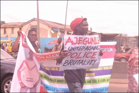 Dagga Tolar, DSM NEC member, at the protest