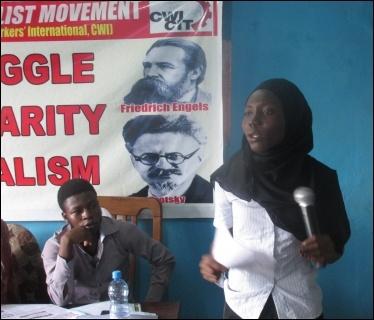 Abibat Jimoh speaking at the NC meeting  - photo DSM