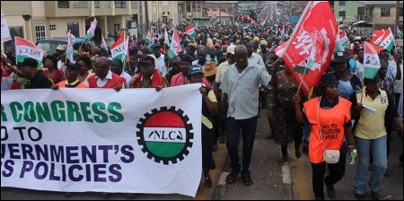 Front of the June 15 mass protest by thousands of Oyo workers