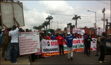 The Lagos march demanding Decent Work- photo DSM