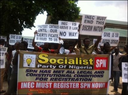 SPN members at INEC office Lagos - photo DSM