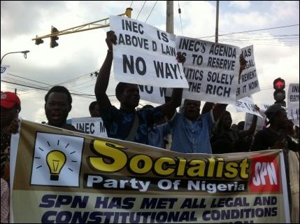 SPN members at Sabo Bus Stop Yaba - photo DSM