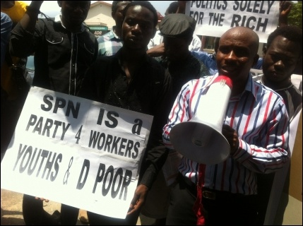 Chinedu Bosah, SPN National Secretary, speaking at the protest - photo DSM