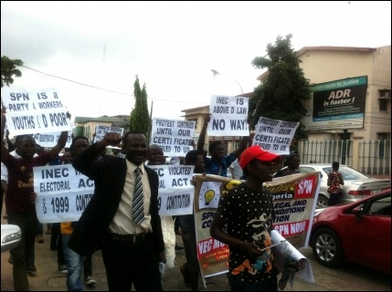 SPN members marching to the INEC office - photo DSM