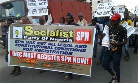 SPN members marching on the main street of Sabo Yaba, Lagos - photo DSM