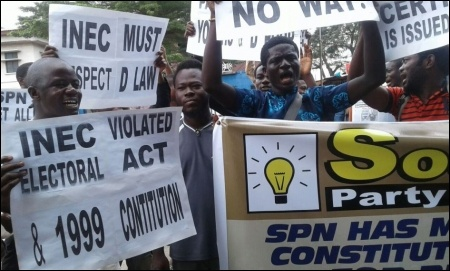 SPN members outside the INEC office, Lagos - photo DSM