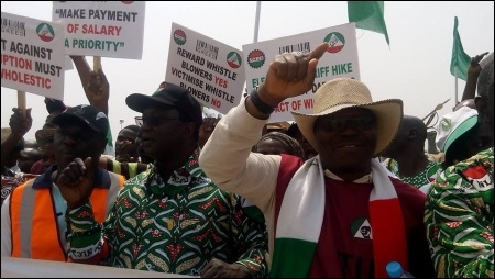Labour leaders at the February 9 protest in Abuja