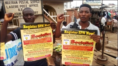 DSM members tabling in Ile-Ife May Day - photo DSM