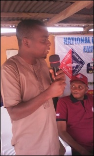 Kola Ibrahim, DSM Osun State Secretary, speaking at ULC May Day - photo DSM