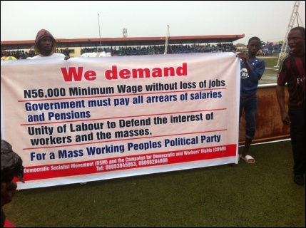 DSM May Day banner in Agege, Lagos - photo DSM