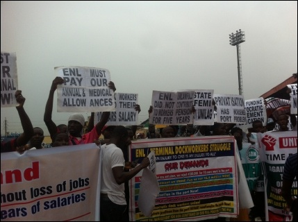 May Day protesters in Agege - photo DSM