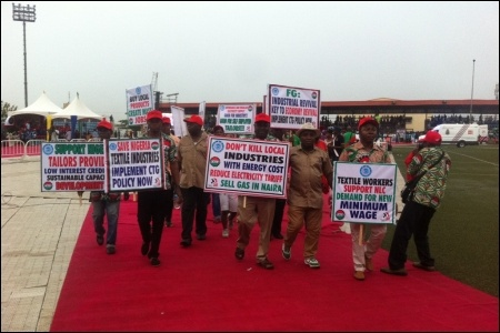 Textile Labour Union members in Agege, Lagos, May Day - photo DSM