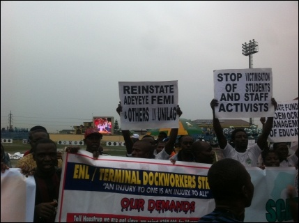 May Day protests in Agege, Lagos - photo DSM