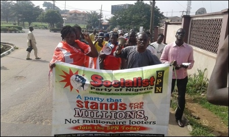 SPN members marching to the Public Complaint Commission office in Ibadan, Oyo state - photo DSM
