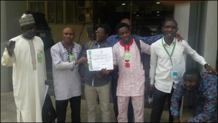 SPN members outside INEC office Abuja after collection - photo DSM