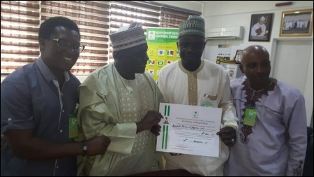 SPN Leaders with an INEC National Commissioner (2nd left) at Formal Presentation - photo DSM