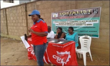 DSM member, Comrade Adekoya Shewa, addressing the Ibadan symposium  - photo DSM