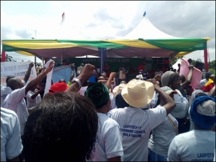 LASPOTECH workers in protest at May Day rally in Lagos - photo DSM