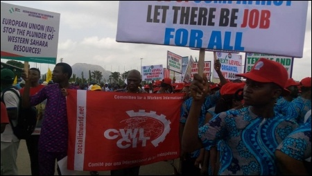 DSM members join protest at May Day in Abuja  - photo DSM