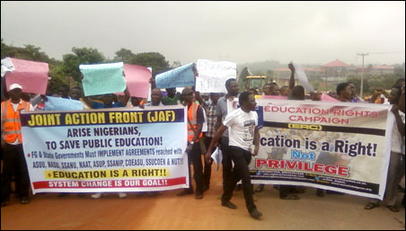Protesters at the take-off point: Mass procession in Abeokuta in continuation of the Save Public Education Struggle