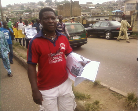 With SD and leaflet at Mass procession in Abeokuta in continuation of the Save Public Education Struggle