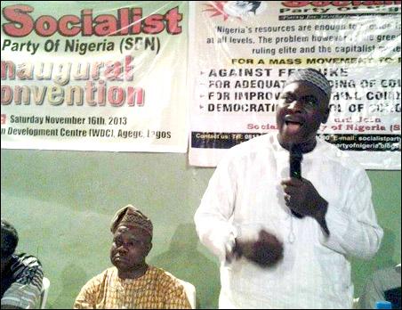 Comrade Lanre Arogundade speaking at founding of SPN Inaugural Convention, photo by Uche Uwadinachi, member DSM