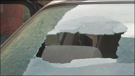 Segun's car damaged in attack, photo DSM