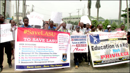 LASU students and JAF members on the protest march, photo by DSM