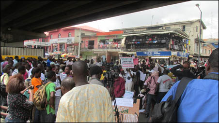 Protesters at Ikeja where march was ended, photo by DSM