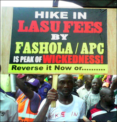 Protest against LASU Fees at 2014 Lagos May Day Rally, photo by DSM