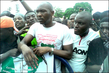 Seun Anikulapo Kuti led a protest by youths to May Day Rally in Lagos, photo by DSM