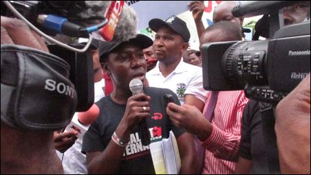 Hassan Taiwo Soweto, ERC National Coordinator, addressing ASUP, COEASU and ERC protest rally, photo DSM