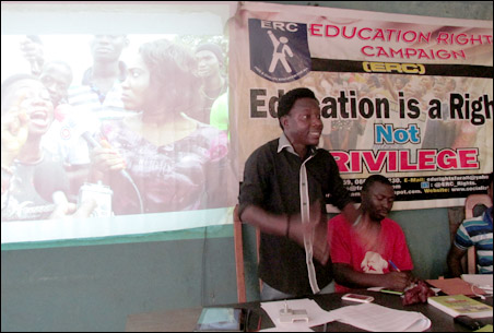 HT Soweto, ERC National Coordinator speaking at the DSM Student Wing meeting , photo by DSM